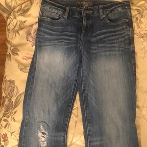 Express boot cut ripped patch knee